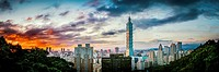 Taipei,Taiwan - Panorama of Taipei City and 101 Tower at sunset from Elephant Mountain.
