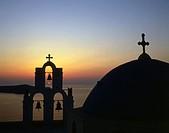 Greece, Cyclades, Santorini, Thera, Fira, church, sunset,.