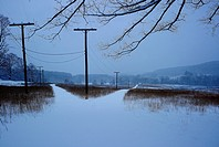 Landscape, winter, snow, road