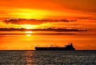 Africa, Mascarene , Mascarene Islands , Mascarenhas , Mauritius, Northern Mauritius, Ship entering Port Louis Harbour, sunset
