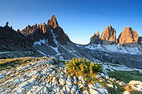 Dawn illuminates the Three peaks of Lavaredo and Mount Paterno. Sesto Dolomites Trentino Alto Adige Italy Europe.