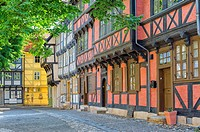 Half-timbered houses, Quedlinburg, Harz, Saxony-Anhalt, Germany, Unesco World Heritage Site.