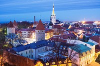 Tallinn old town overview lighted at dusk. Tallinn, Estonia.