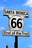 Route 66 sign on Santa Monica Pier, the end of the trail from Chicago.