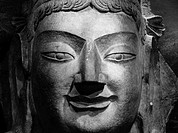 Taiyuan, Shanxi province, China - Close up of the head of a Buddha statue at Taiyuan Museum.