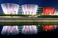 Taiyuan, Shanxi province, China - The view of Taiyuan Museum in the night, the beautiful building designed by Paul Andreu.