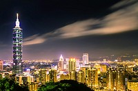 Taipei, Taiwan - Night view of Taipei City and 101 Tower from Elephant mountain.