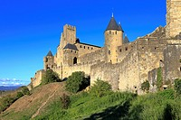 Medieval castle fortress at Carcassonne, Aude, Languedoc Roussillon, France a UNESCO world heritage site.