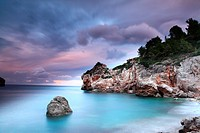 Cove in the evening after a storm, Serra de Tramuntana, Deia, Majorca, Balearic Islands, Spain
