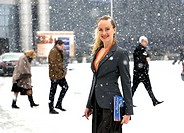 Business woman down Moscow snow, Russia