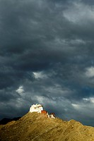 Tsemo buddhist monastery under dramatic clouds in Leh (Ladakh, India).