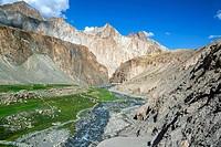 Markha river. Trekking in Markha valley (Laddakh, India).