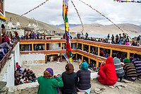 Gu-stor festival in Korzok monastery. Nomad summer festival in Tso Moriri lake, Ladakh (India).