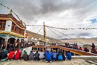 People enjoying the Gu-stor festival. Tso Moriri lake, Ladakh (India).