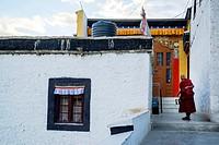 Buddhist nun in Thicksay gompa, Ladakh, India.