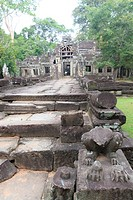 Entry to temple Banteay Kdei, within the temple complex of Angkor, Siem Reap, Cambodia.