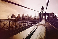 Brooklyn Bridge detail, Manhattan, Down Town, New York City, New York, United States