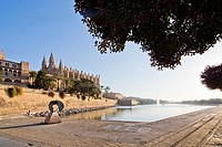 The cathedral La Seu on a sunny day in December in Palma de Mallorca, Balearic islands, Spain.
