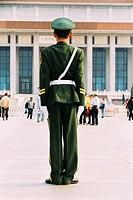 Beijing, China - A guard soldien at Tiananmen Square in the daytime.