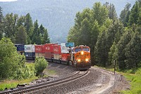 A BNSF train running on the BNSF line near Naples, north Idaho, USA.