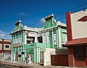 Colorful old building in need of restoration at Oranjestad, Aruba.