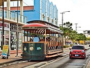 Aruba Trolley in Oranjestad. The free streetcar runs from the wharf area to the end of Main street and back.