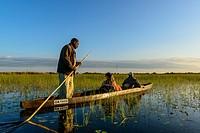 Makoro (also spelt mekoro, mokoro) ride. Xaranna Camp. Okavango Delta. Botswana.
