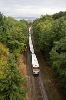 The Amtrak Cascade Talgo passenger train west of Tacoma, Washington, headed south toward Portland, Oregon, USA.