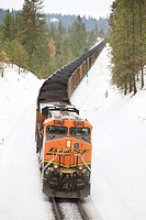 The Distributed Power unit on the back of a Burlington Northern Santa Fe coal train heading west near Overlook siding in Spokane, Washington, USA in t...