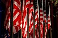 USA, New York City, american flags outside Rockefeller Center.