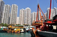 Hong Kong: boats and apartment buildings in Abardeen                                                                                                  ...