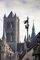 Belfort´s tower and Sint-Michiels sculpture from the bridge, Ghent, Belgium