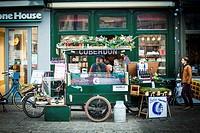 Cuberdons stall in Groentenmarkt, typical sweet from Ghent, Belgium