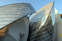 The Fondation Louis Vuitton dedicated to contemporary art exhibitions, designed by Frank Gehry, situated in the Bois de Boulogne, Paris, France.