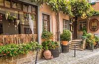 exterior view of weinkeller einhorn, traditional wine pub, in the historic part of esslingen, baden-wuerttemberg, germany.