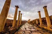 "The South Decumanus at Jerash once served as the Roman town´s main eastâ. ""west axis. Greco-Roman Ruins, Jerash, Jordan."