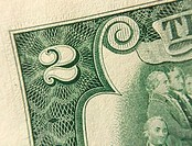 Closeup of the corner of an American $2 bill