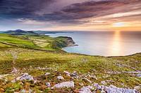 Sunset over Caernarfon Bay, Llithfaen, Gwynedd, Wales, United Kingdom, Europe.