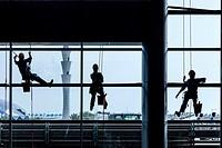Window Cleaners, Hamad International Airport, Doha, Qatar.