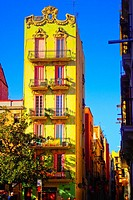 Buildings. Plaça del Sol, Gracia quarter, Barcelona, Catalonia, Spain.