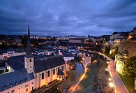 Grand Duchy of Luxembourg. Luxembourg city (World Heritage). Grund district. Neumunster Abbey with the Alzette River.