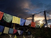 Nepal. Himalayas. Annapurna Circuit. Thorong La Pass (5,416 m) . Flags prayer.