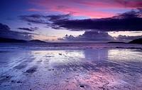Spain. Galicia. Pontevedra. Rias Baixas. Gets dark in Playa America. Nigran.
