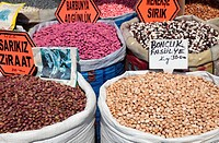 Beans for sale at market, Istanbul, Turkey.