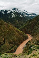 The view of Lancang river valley in Tibet.
