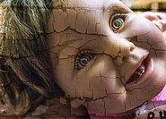 Realistic toy doll´s face.