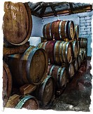 Wine maturing in barrels in a wine cellar. Grunge with border. Western Cape Province, South Africa.