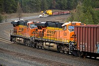 Distributed power units at the back of a BNSF train at Scribner, Washington, USA.