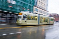 The First Hill streetcar in the International District, Seattle, Washington, USA.