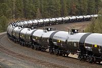 Oil tanker cars on a train hauling oil through Washington State, USA.
